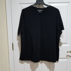Suprema Black V-neck with inlaid netting  NWT